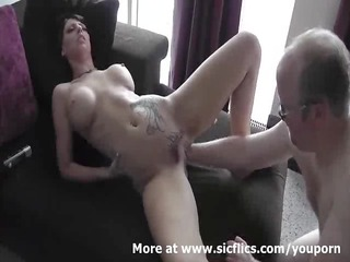 awesome brunette hand drilled inside her loose