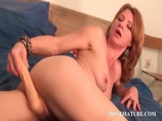 older bleached works whore with plastic cock
