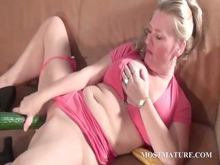 dirty grownup gang-bangs vagina with a cucumber