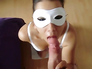 masked wife blowjob and cum