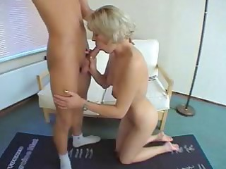 shorthaired older blond with tiny boobs acquires