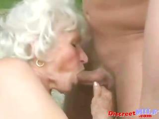 grown-up elderly obtain drilled by fresh man