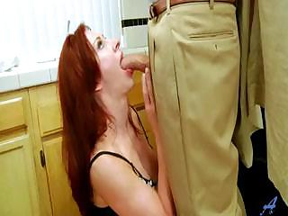 fresh red-haired woman fucked into shoes