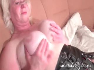 blonde elderly pleasuring her cougar whore