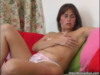 curly and aged mommy enjoys with fist and
