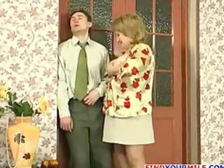 russian woman and skinny man gang-banging