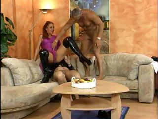 german rufous woman is into a three way and licks