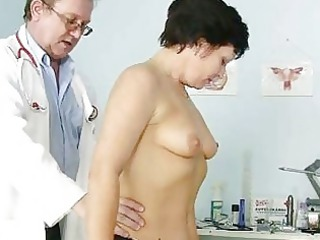 older babe eva visits gyno nurse to own gyno ex