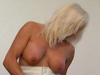 gang-banged blonde milf in pantyhose fucks the