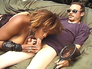 horny ebony momma milking big shaved cock down