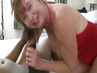 heavy ginger lady pleases with solitary ebony