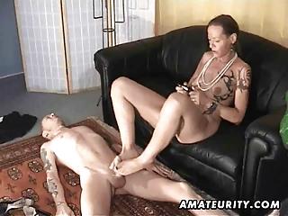 young handjob footjob and cock sucking with