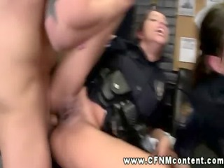 two girl cops inside uniform get their pussies