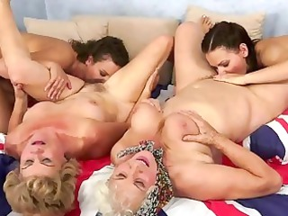 two grannies and two young enjoying super drill