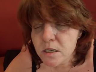 plump mature sucks and drives cock