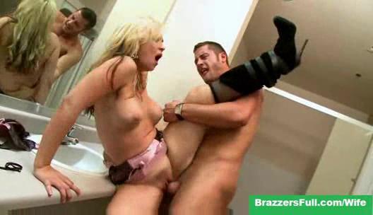 cheating woman sarah vandella inside the restroom