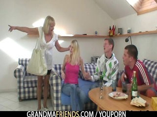 partying men nail blond grandma
