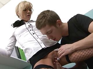 sweet office lady wears jizz on her physiognomy