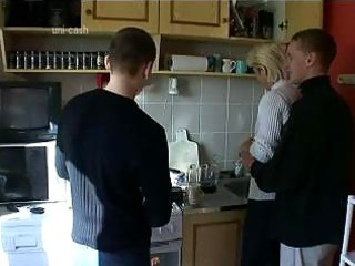 grownup babe gang-banged by two inexperienced sons