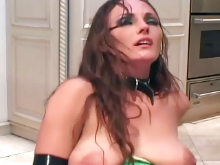 mature babe gang-bangs into latex lingerie