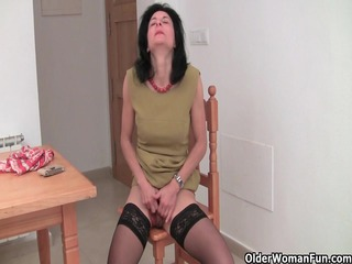 bushy granny emanuelle inside darksome stockings