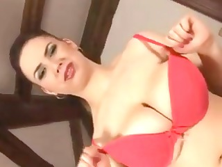 fat desperate angel poses and uses a plastic dick