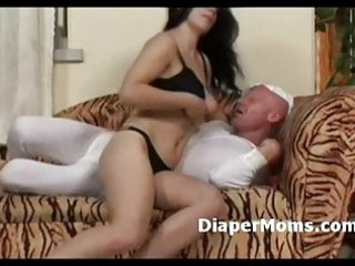 fresh mommy tits feeds diaper boygives him