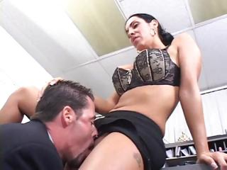 brunette lady office porn