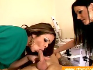cfnm blowjob from two woman into a prettiness