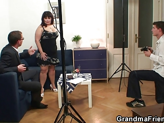 two boys are piercing giant titted grown-up whore