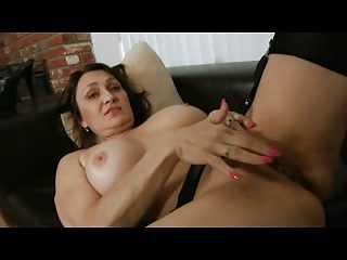 milf into black underwear and nylons fingers her