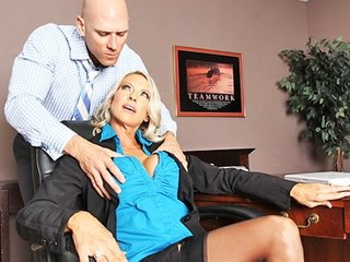 large boob bleached mature babe boss in stockings