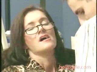 grownup pierced in bureau brunette mature