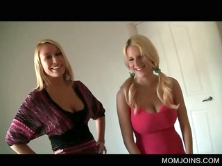 grown-up chick and daughter strpping for fuck