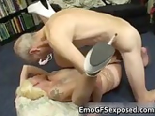 elderly papy gangbanging young tattooed lady