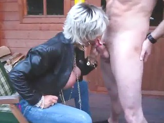 piss busty albino girl slut pee and suck a cock