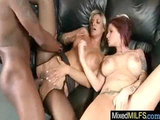 mature babe enjoy large brown hard cock in each