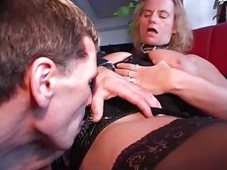 elderly into pvc and pantyhose eats dick and fucks