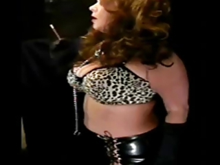 very impressive cougar inside leather smoking solo