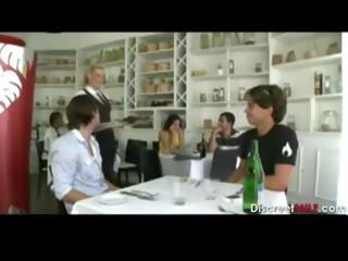 woman waitress banging young guy