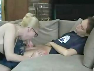 amateur blond grown-up babe sucks his heavy young