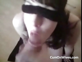 blindfolded woman facial