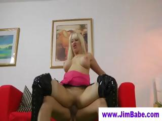 shiny boots babe banged by elderly guy