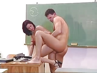 cougar teacher with mini dress pierced inside