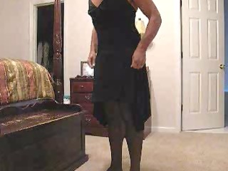 jerkin off - putting on wifes lbd and lingerie