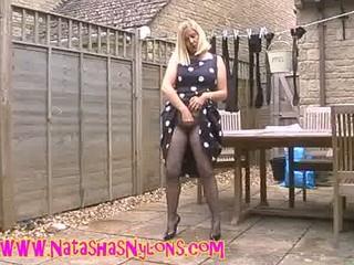 slut lady wife inside stockings teasing the