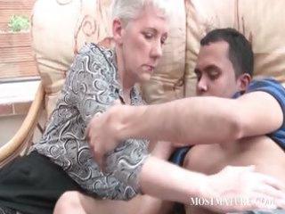 blond older gets her bossom teased