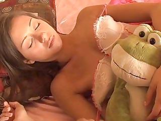 sleeping brunette teenager into enjoying