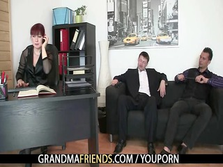 business babe gets two cocks