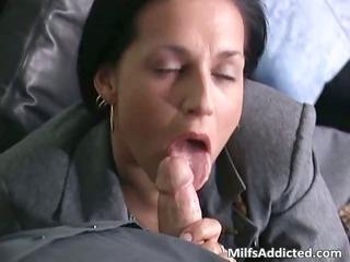 slutty brunette grown-up lady associate takes wet